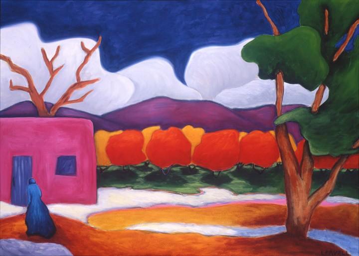 road at night painting